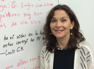 Esther Schor, ESF advisor and an organizer of Esperanto course at Macaulay Honors College
